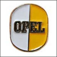 Rockslagspin med vit och gul Opellogga
