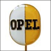 Rockslagsnål med vit och gul Opellogga
